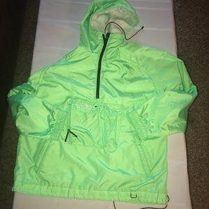 Obermeyer vintage neon green hoodie pullover